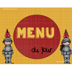 Ensemble menu, calendrier - thème chevalier