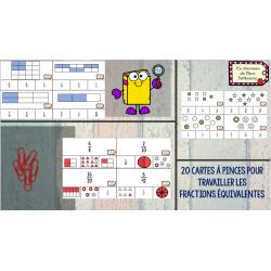 Cartes à pinces : Fractions équivalentes