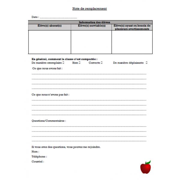Document - note de suppléance