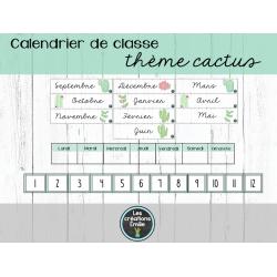 Calendrier de classe (thème cactus)