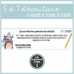 5 à 7 d'écriture - Ma semaine de relâche