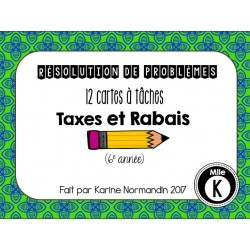Cartes à tâche - Taxes & Rabais