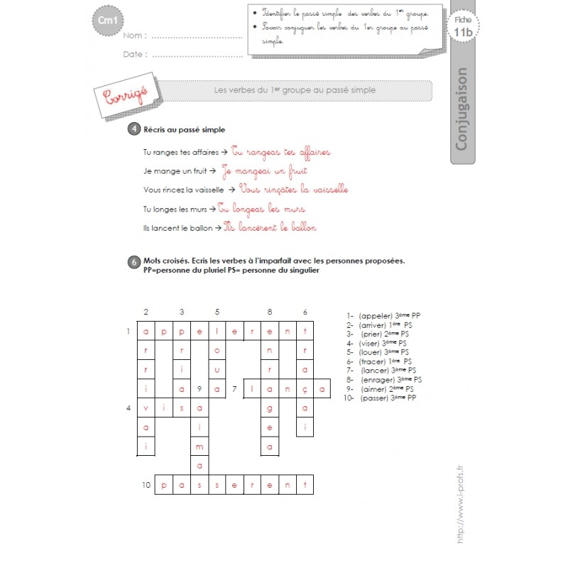 93 Fiches De Conjugaison Cm1 4e Annee