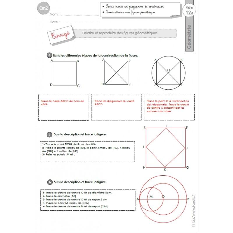 132 Fiches De Geometrie Cm2 5e Annee