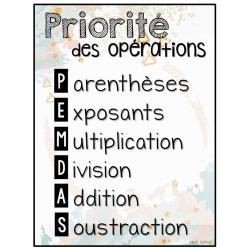 Priorité des opérations
