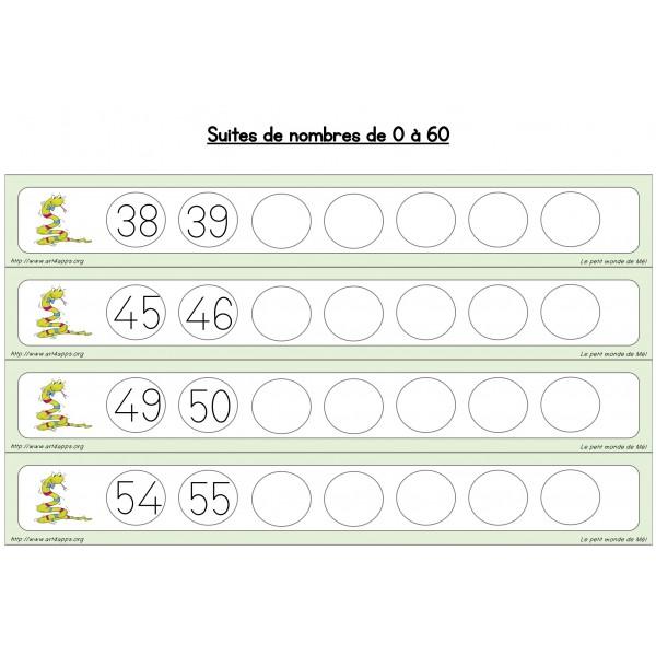 Suites de nombres de 0 à 60