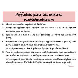 Affiches centres mathématiques - ateliers