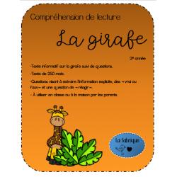 La girafe -Compréhension de lecture