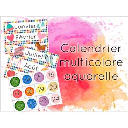 Calendrier multicolore aquarelle