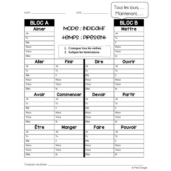 Traces d'étude de conjugaison