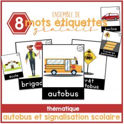 mots étiquettes autobus et signalisation scolaire