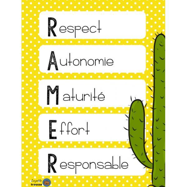 Affiche valeurs de classe RAMER