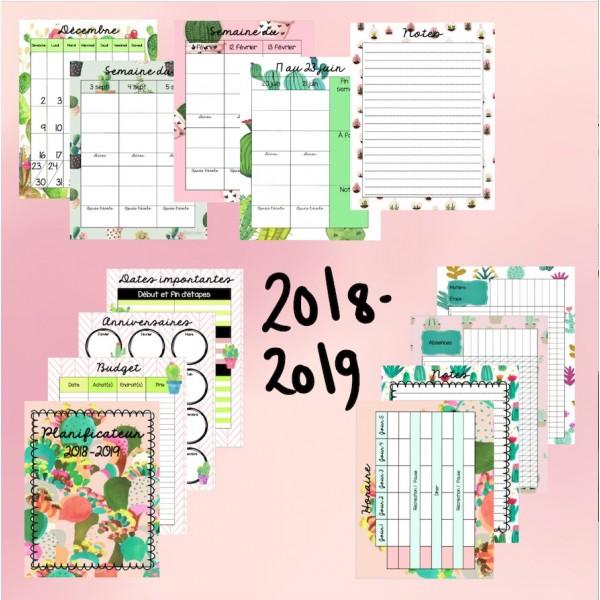 Planificateur 2018-2019 cactus