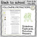 Classroom English - FOLLOWING INSTRUCTIONS