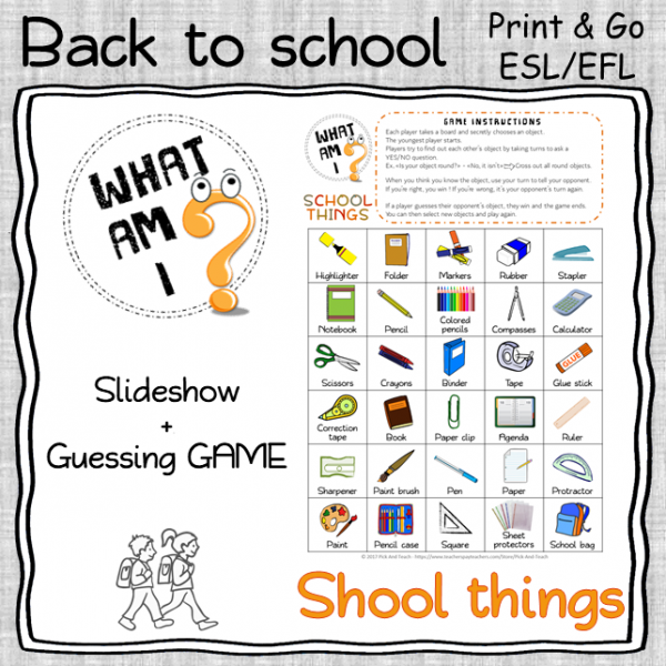 SCHOOL SUPPLIES – 2 speaking activities