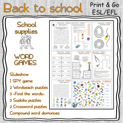 School supplies WORD GAMES