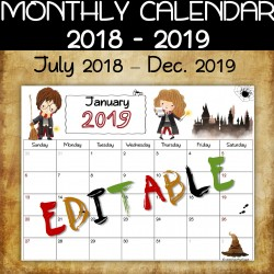 Wizard EDITABLE monthly calendar 2018-2019