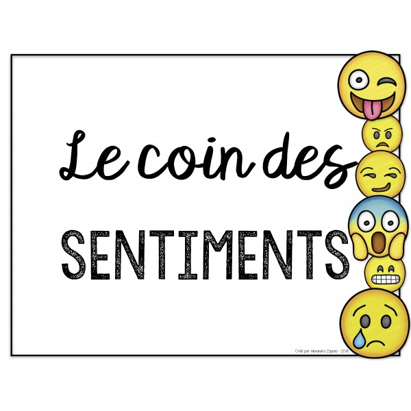 Le coin des sentiments / émotions - MODIFIABLE