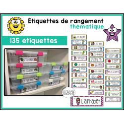 Étiquettes pour bacs de rangement thématique