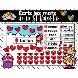 Écris les mots de la St-Valentin