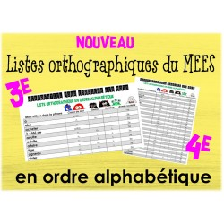 Listes orthographiques du MÉES ordre alphabétique