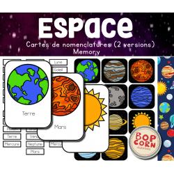 Espace : Cartes de nomenclature et memory