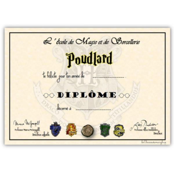 Diplômes Harry Potter
