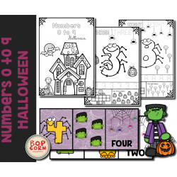 Numbers 0 to 9 - Halloween - English version