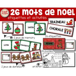 26 mots de Noel - Activités et étiquettes