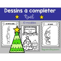 Noël - 10 dessins à compléter