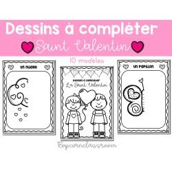 Saint Valentin - 10 dessins à compléter