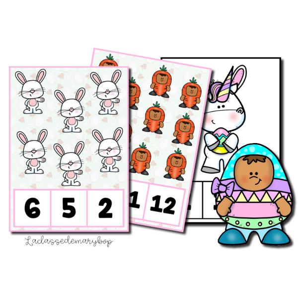 Cartes à compter de 1 à 20 - Pâques