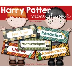 Menu du jour - Emploi du temps Harry Potter