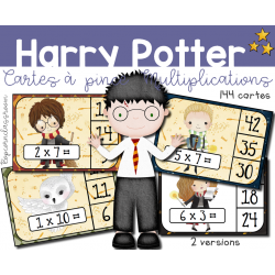 Harry Potter Multiplications - Cartes à pince