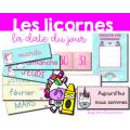 Étiquettes pour la date - Les licornes
