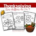 Chiffres de 0 à 9 - Thanksgiving - Action de grâce