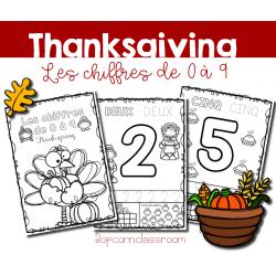 Les chiffres de 0 à 9 - Thanksgiving