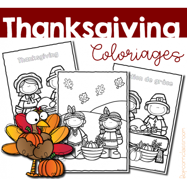 Thanksgiving - Action de grâce - Coloriages