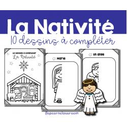 La Nativité - 10 dessins à compléter