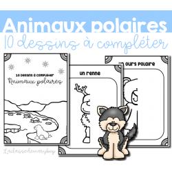 Animaux polaires - 10 dessins à compléter