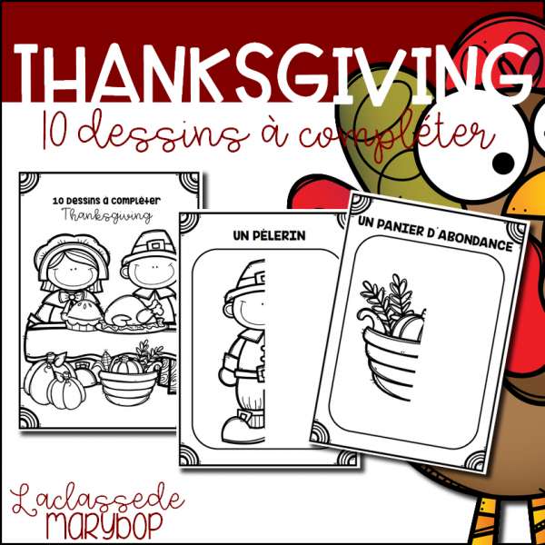 Thanksgiving - 10 dessins à compléter