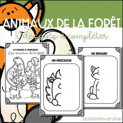 Animaux de la forêt - 10 dessins à compléter