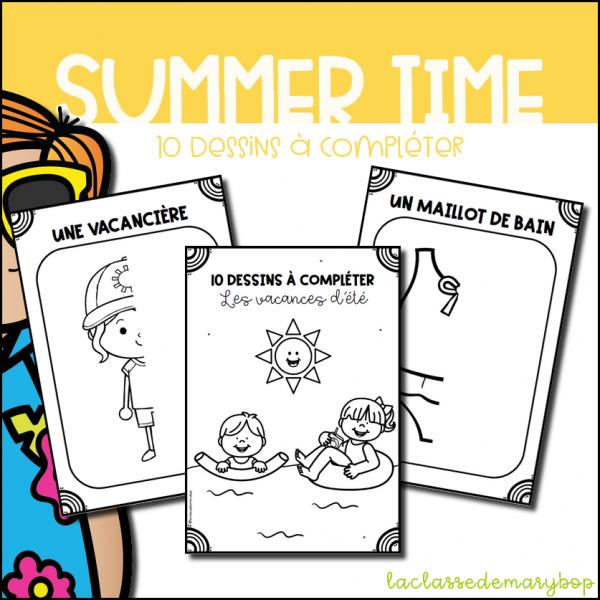 Vacances d´été - 10 dessins à compléter