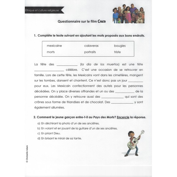 Questionnaire film Coco (ECR)