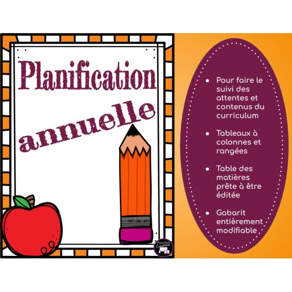 PLANIFICATION ANNUELLE