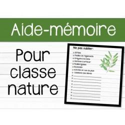 Aide-mémoire classe nature
