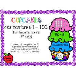 Cupcakes des nombres 1 à 100