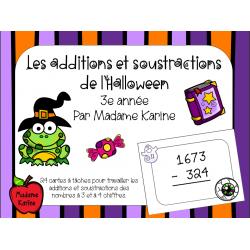 Additions et soustractions d'Halloween - 3e année