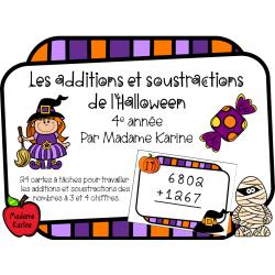 Additions et soustractions d'Halloween - 4e année