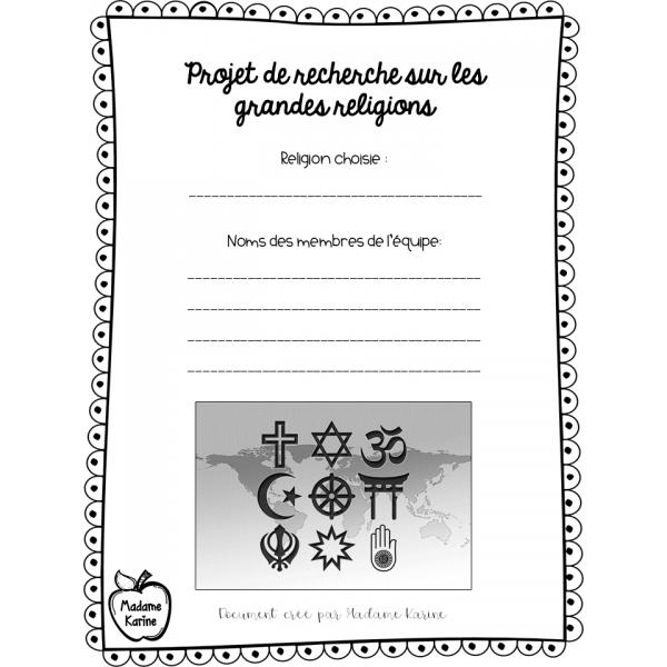 Projet de recherche sur les grandes religions